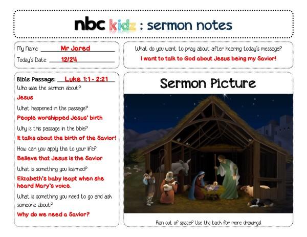 Sermon Notes B
